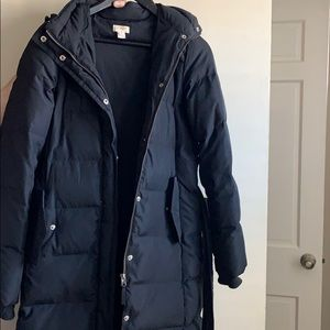 Black down winter coat